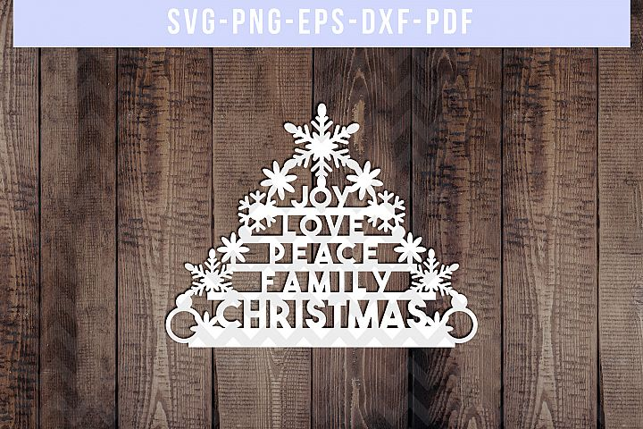 Christmas Tree Papercut Template, Xmas Cardmaking, SVG, PDF