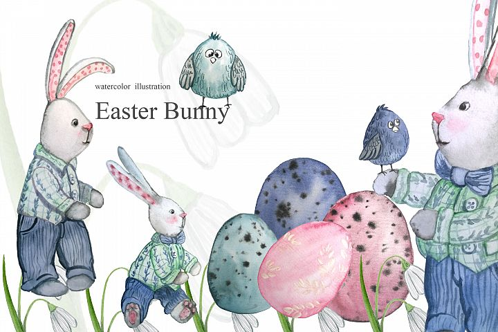 Set of watercolor Easter bunny, rabbit painting