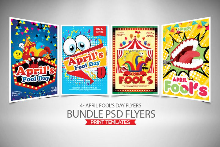 4 April Fools Day Flyers Bundle