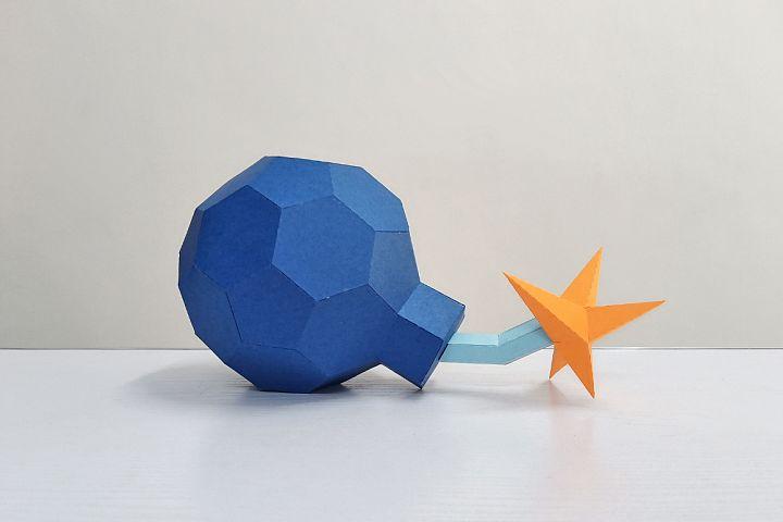 DIY Cannon Bomb,Papercraft Bomb,3d bomb,Paper toy,Bomb Svg