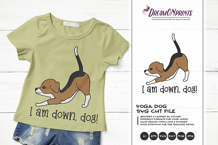 Yoga Dog SVG | Yoga Poses Down Dog | Beagle Illustration