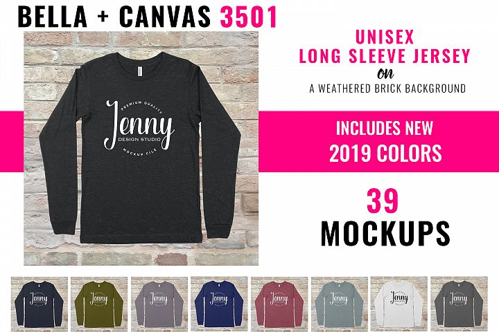 Bella Canvas 3501 Mockup Bundle, Unisex Long Sleeve Jersey