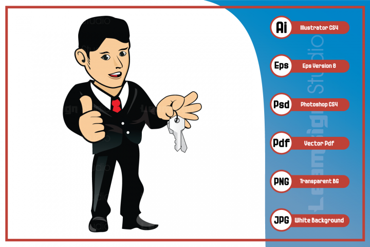 Mascot cartoon Illustration - Guy character holding keys