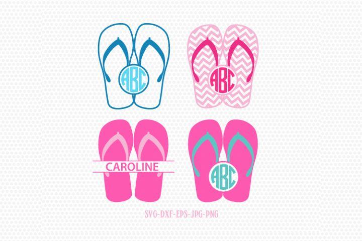 Summer Flip Flops monogram frames SVG, Summer Monogram frames Svg,beach flip flop svg,for CriCut Silhouette cameo Files svg jpg png dxf