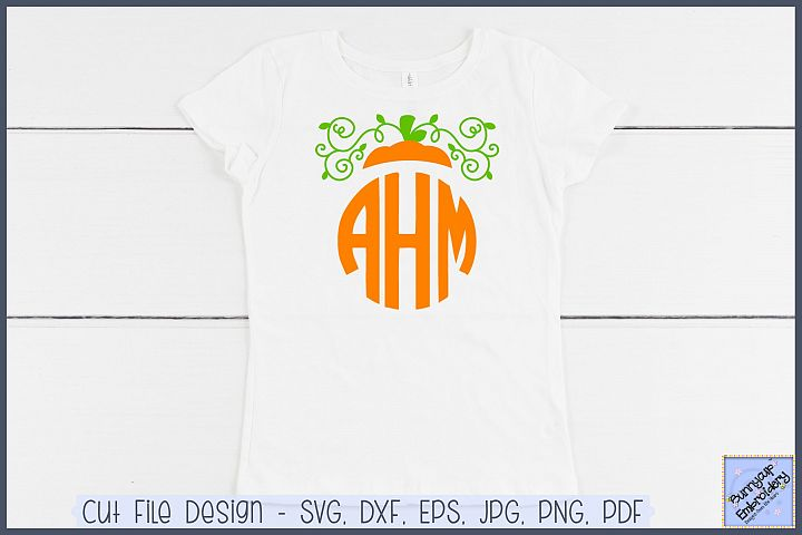 Pumpkin Monogram Topper - SVG and Clipart
