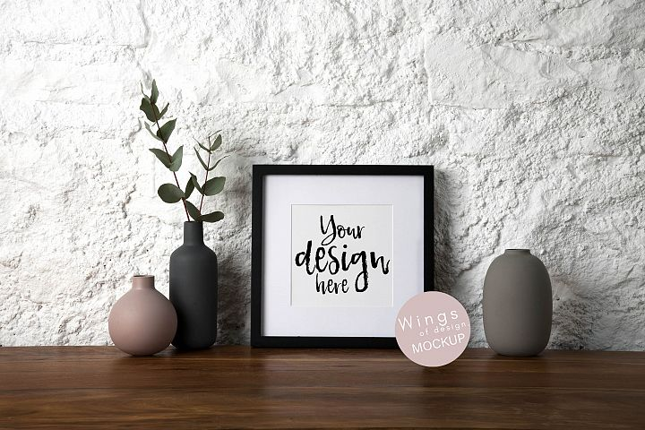 Square Picture Frame Mockup Black - Rustic White stone Wall