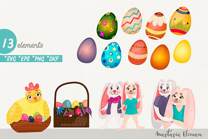 Easter eggs hunt clipart bunnies svg dxf eps commercial use
