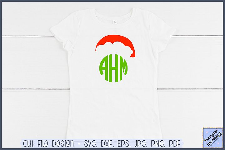 Santa Hat Monogram Topper - SVG and Clipart