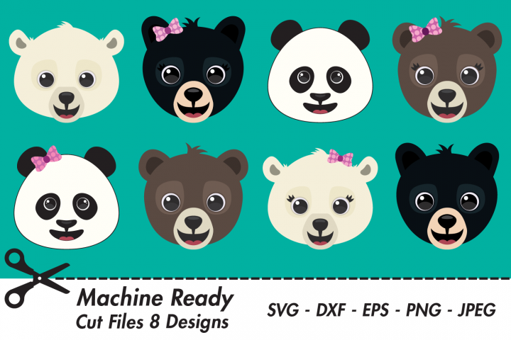 Cute Woodland Bear Bundle SVG Cut Files, Happy Bear Faces