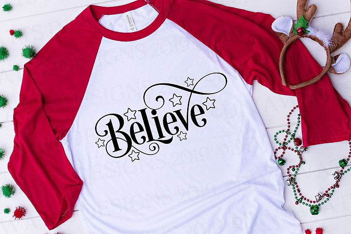 Believe - Christmas Cutting File - Stars - SVG DXF PNG JPG