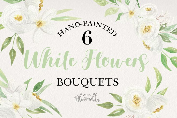 White Flowers 6 Bouquets Watercolor Florals Wedding Leaves