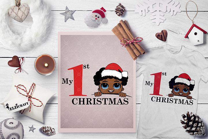 My 1st Christmas Afro Peeking Boy Santa Hat SVG Cut File