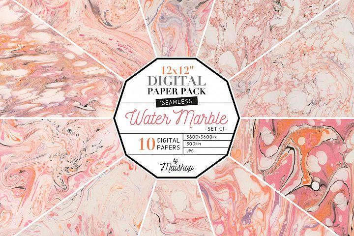 Seamless Digital Paper Pack Water Marble Set 01