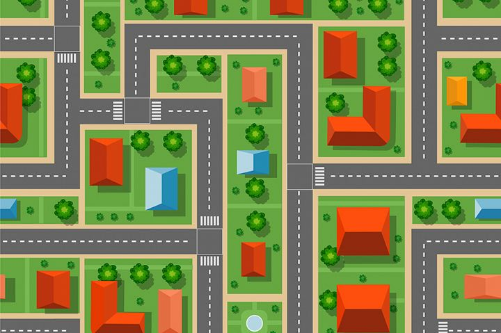 City seamless pattern of streets