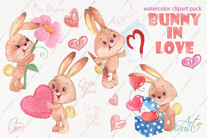 Watercolor bunny and hearts watercolor clipart pack
