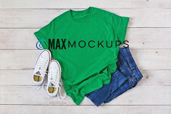 Green t-shirt Mockup, unisex, womens, styled photo flatlay