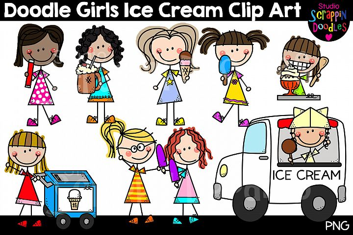 Doodle Girls Ice Cream Clip Art - Cute Stick Figure Kids