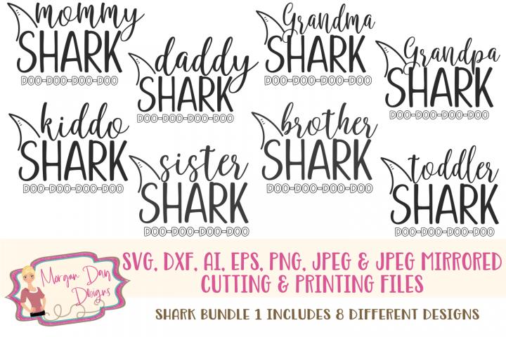 Shark Bundle 1 SVG, DXF, AI, EPS, PNG, JPEG