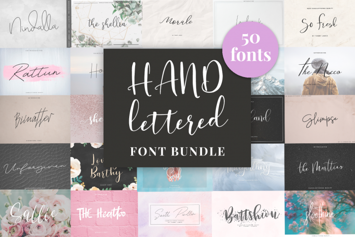 Handlettered Font Bundle 50 in 1.