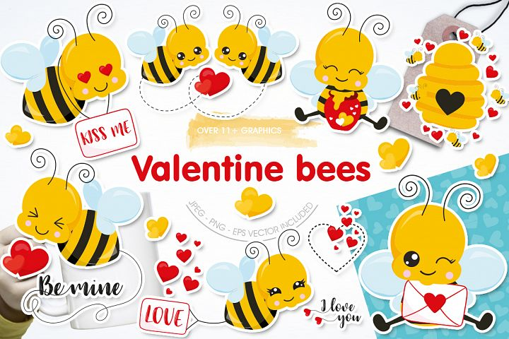 Valentine Bees Graphic and Illustration