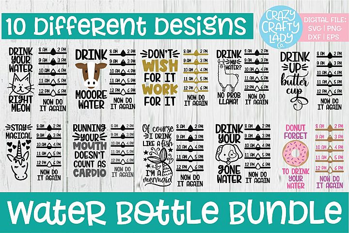 Water Bottle Tracker SVG DXF EPS PNG Cut File Bundle