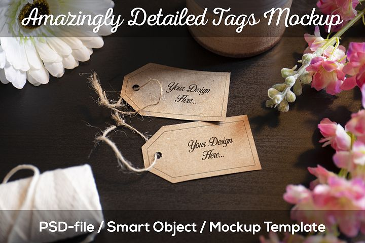 Tag Mockup with Smart Object, High Quality PSD Card Template