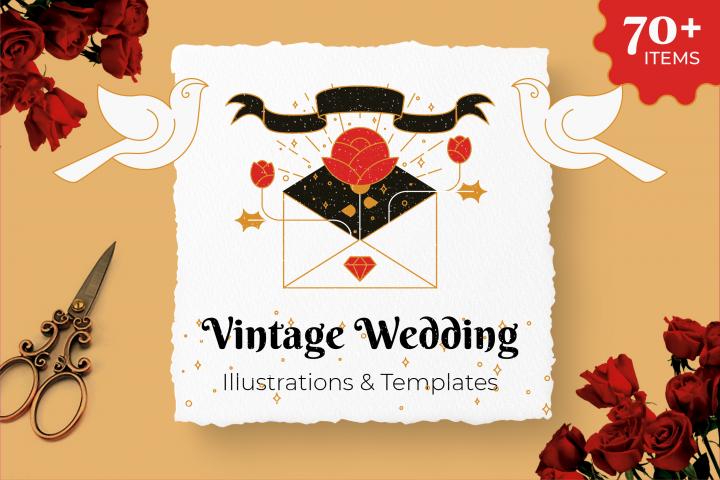 Vintage Wedding Illustrations & Templates