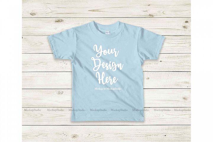 Kids Light Blue Tshirt Mockup, Toddler Shirt Flat Lay Mock