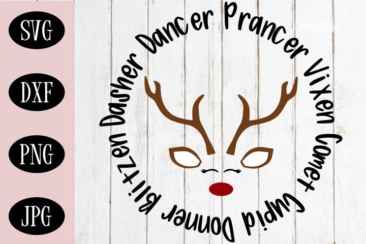 Santas Reindeer SVG, Rudolph SVG, Christmas Ornament SVG