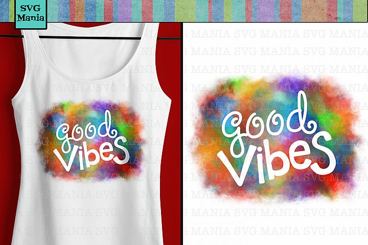 Good Vibes Beach Sublimation Design, Summer Tye Dye png File