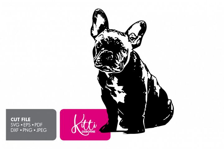 French Bull Dog, Paper cut Template SVG