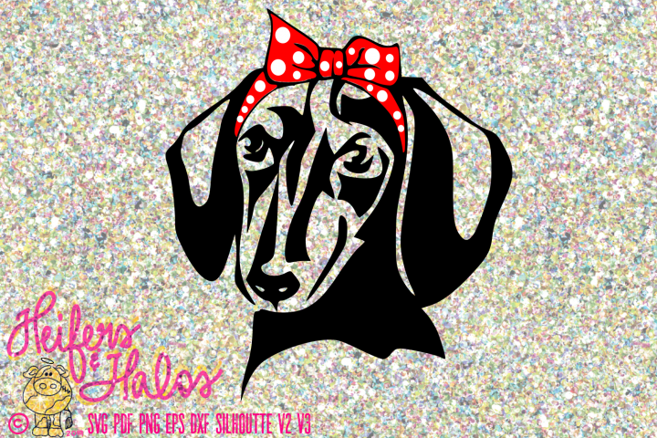 Dachshund doxie with bow and bandana digital file