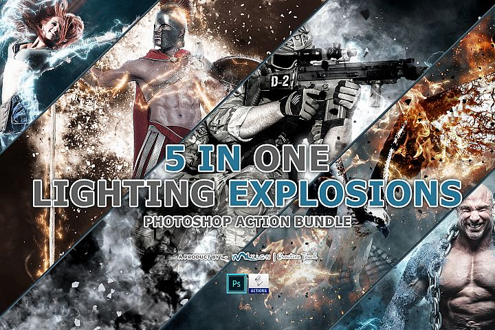 5 in One Lighting Explosions - Photoshop Action Bundle