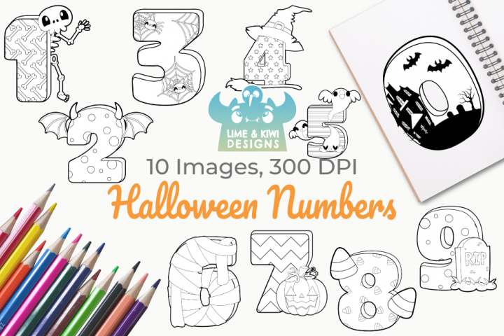 Halloween Numbers Digital Stamps