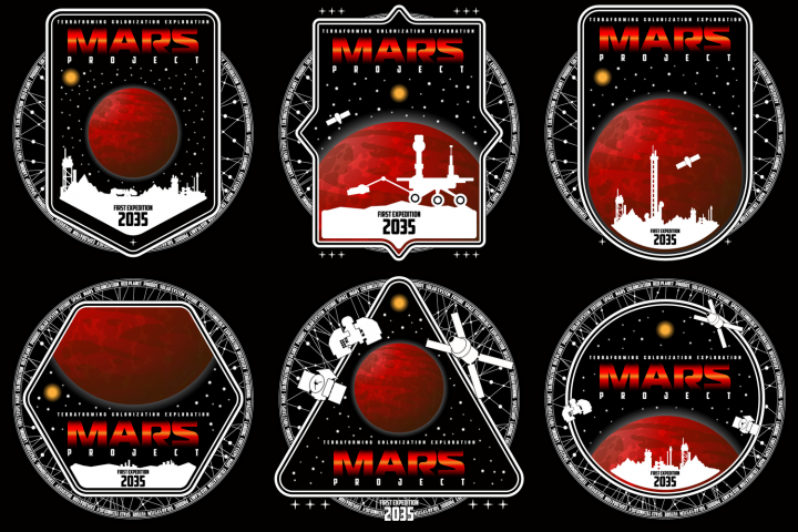 Mission to mars vector logo.
