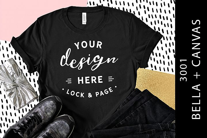 Black Bella Canvas 3001 T-Shirt Mockup Fashion Flat Lay