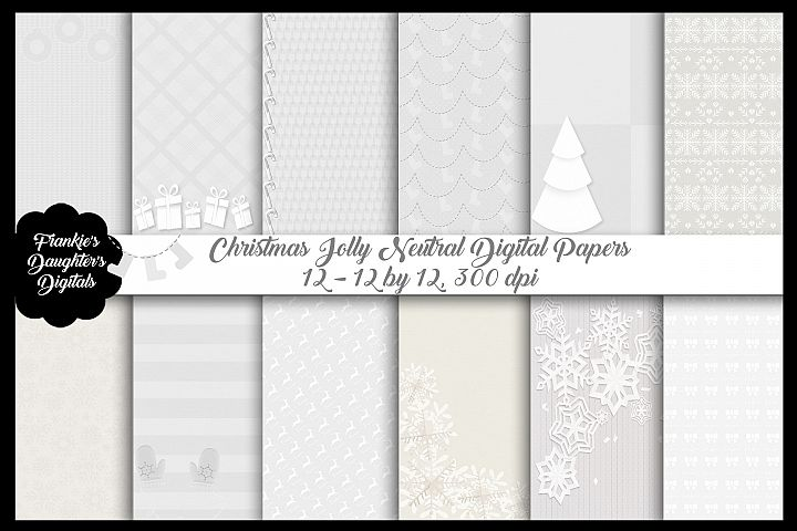 Christmas Jolly Neutral Digital Papers