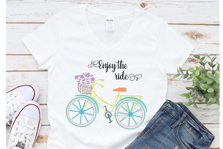 Bicycle svg, enjoy the ride svg, bicycle cut file, bicycle