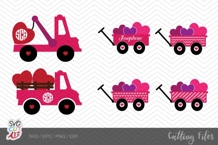 Valentine Wagon, Valentine Tow, Wagon svg, Tow svg