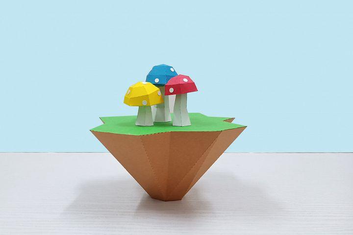 DIY Papercraft Mushroom Island,3d papercraft,Mushroom svg