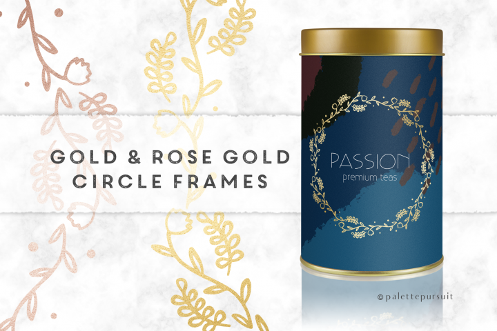Gold and Rose Gold Circle Frames Clip Art, Circle Logo