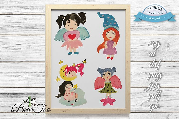 Angel Girls SVG Clipart Watercolor Bundle, Vector Sketches