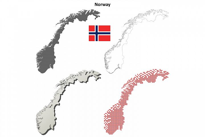 Norway outline map set