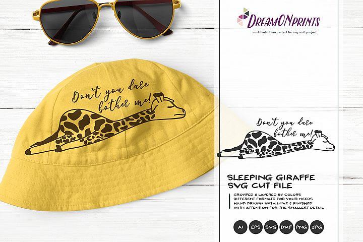 Sleeping Giraffe SVG | Funny Giraffe Illustration