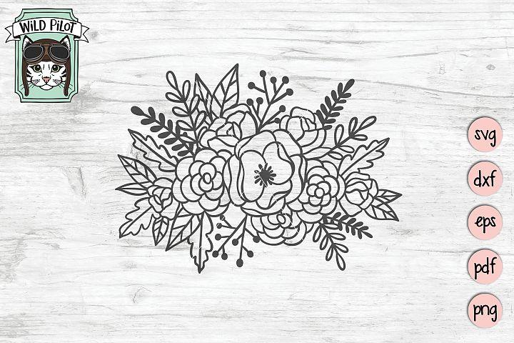 Flowers SVG file, Bouquet Clipart, Flower Cut file