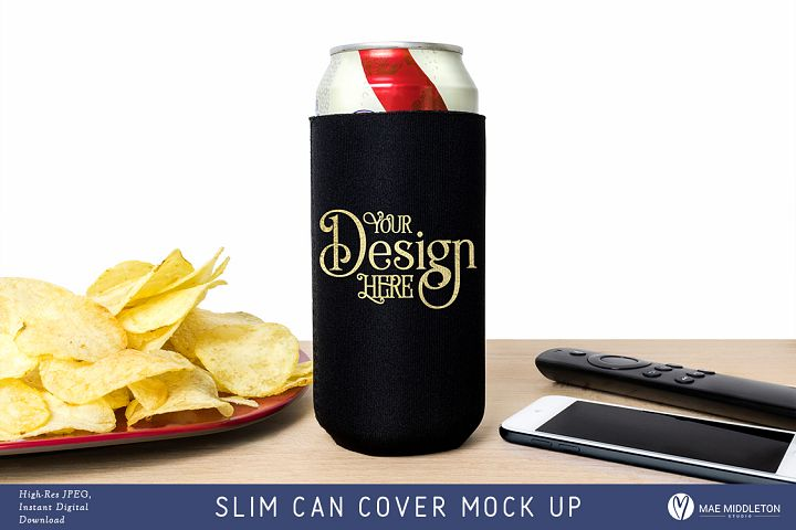 Slim Can Cover Mock up, styled photo