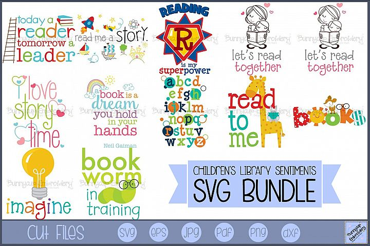 Childrens Library Sentiments - 12 SVG, Clipart, Printables