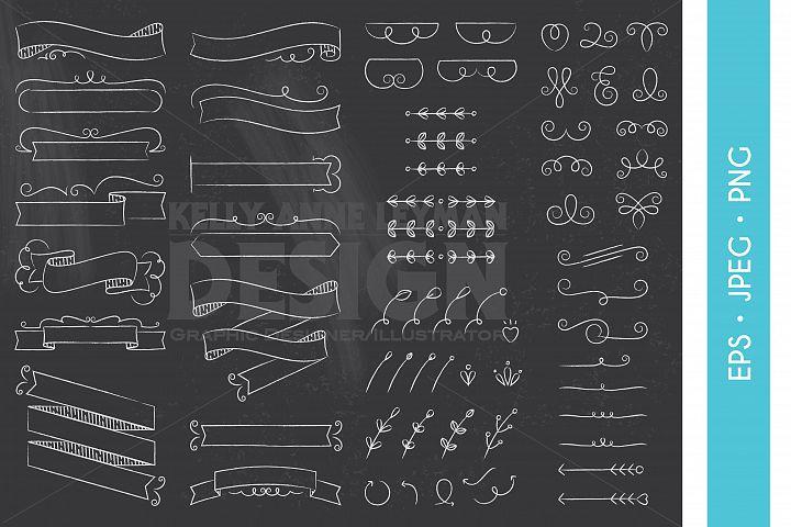 Chalkboard Digital Ribbon Clipart, Design Elements