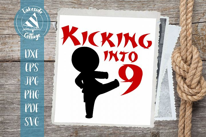 Kicking into 9 Boy- Martial Arts Inspired 9th Birthday SVG