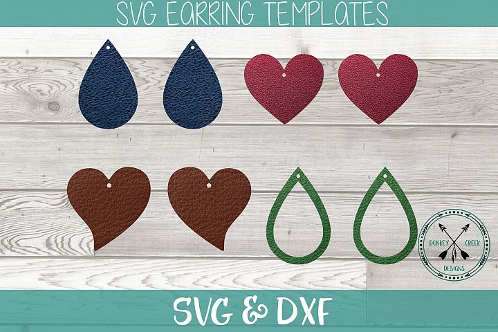 Tear Drop and heart Earring SVG bundle for Faux Leather She